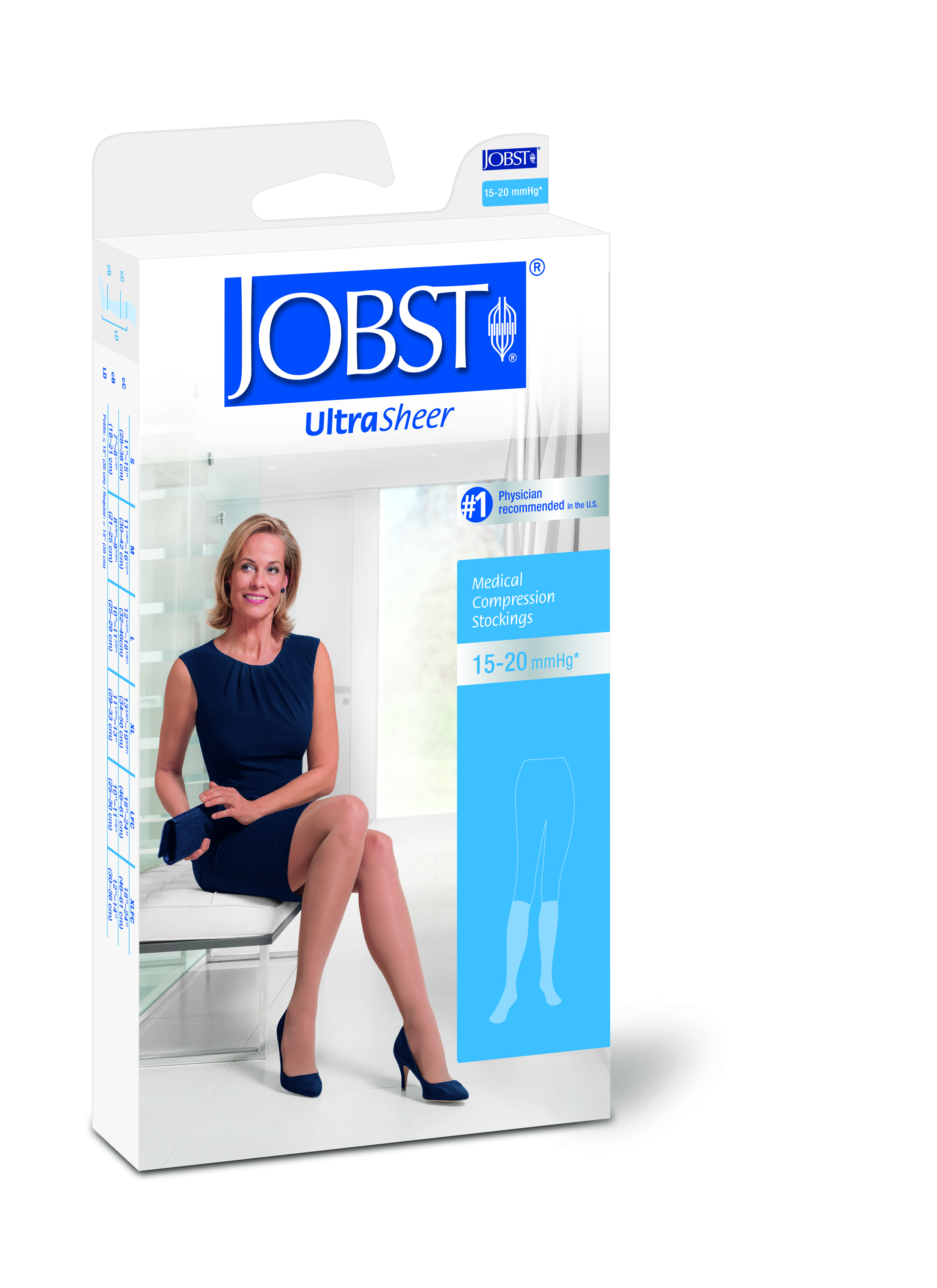 JOBST UltraSheer 15-20 Lace Silicone Top Thigh High Closed Toe Compression