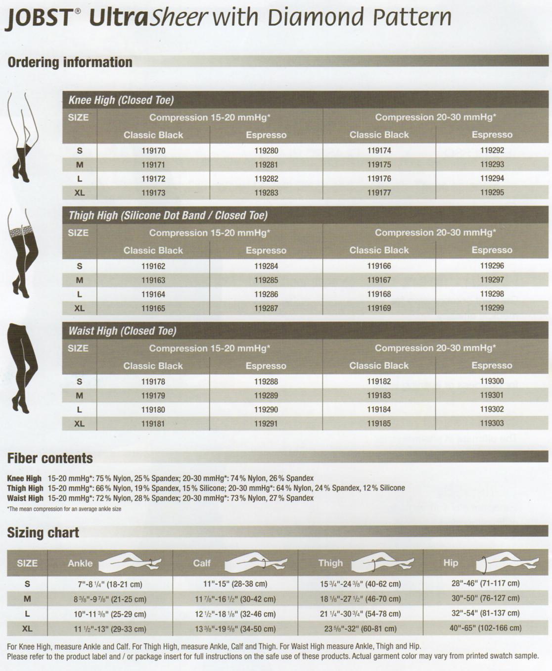f1ecc19b5 JOBST UltraSheer Diamond Pattern 20-30 mmHg Closed Toe
